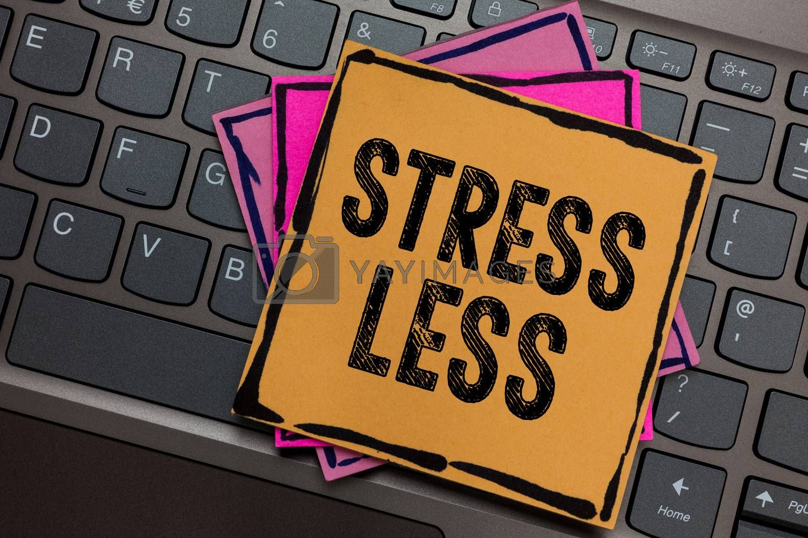Conceptual hand writing showing Stress Less. Business photo showcasing Stay away from problems Go out Unwind Meditate Indulge Oneself Papers keyboard Inspiration communicate Annotations computer