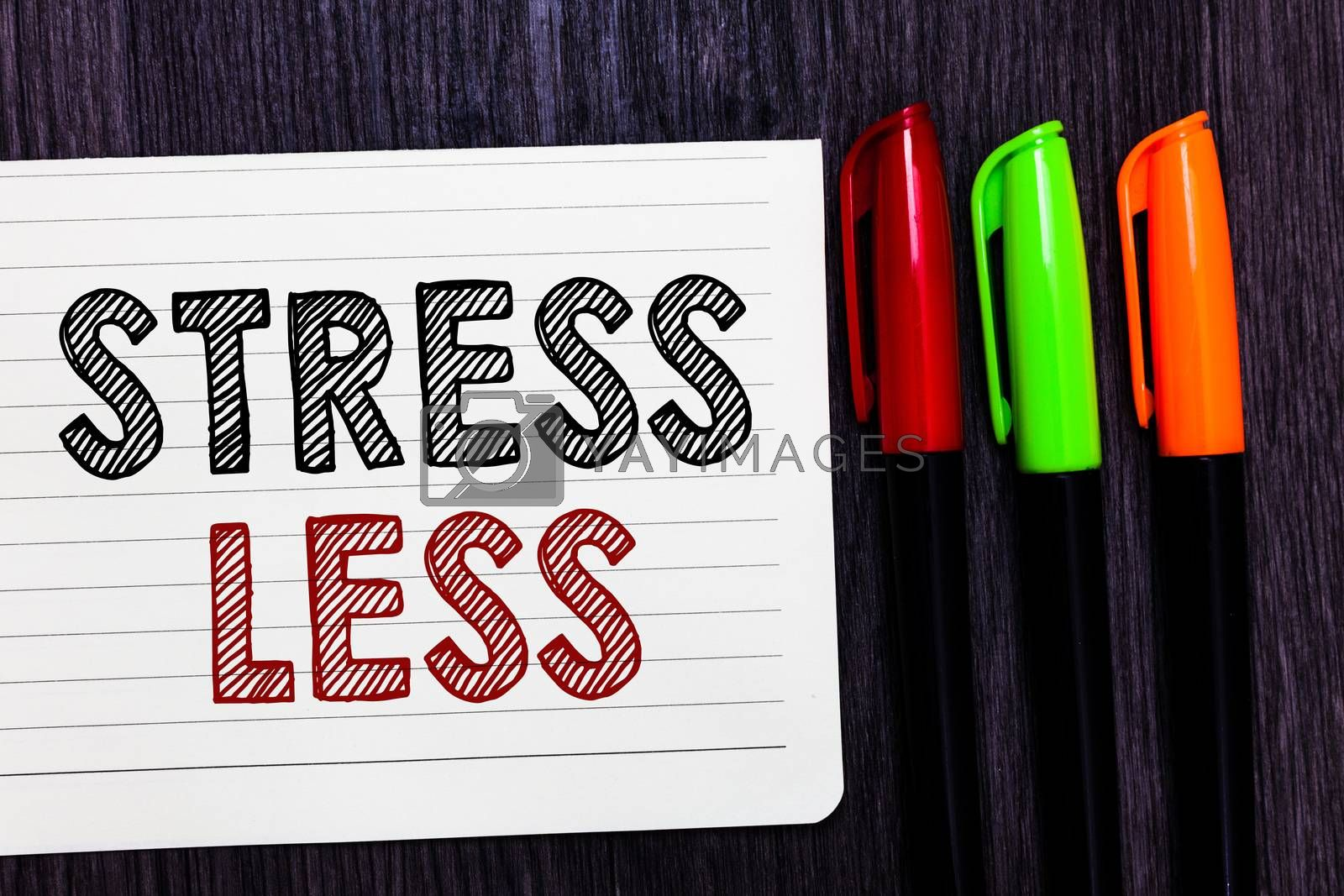 Word writing text Stress Less. Business concept for Stay away from problems Go out Unwind Meditate Indulge Oneself Notebook paper colorful markers wooden background communicating ideas. by Artur Szczybylo