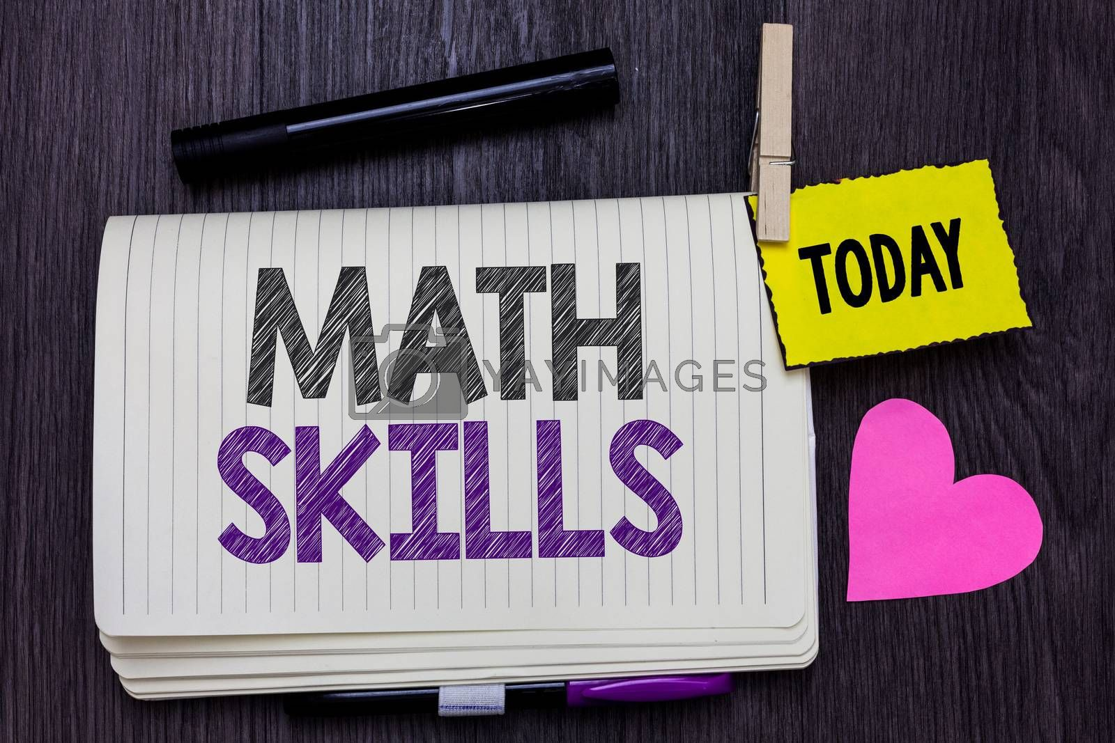 Text sign showing Math Skills. Conceptual photo starting to learn how to count numbers add divide use equation Open notebook clothespin holding reminder marker heart wooden background