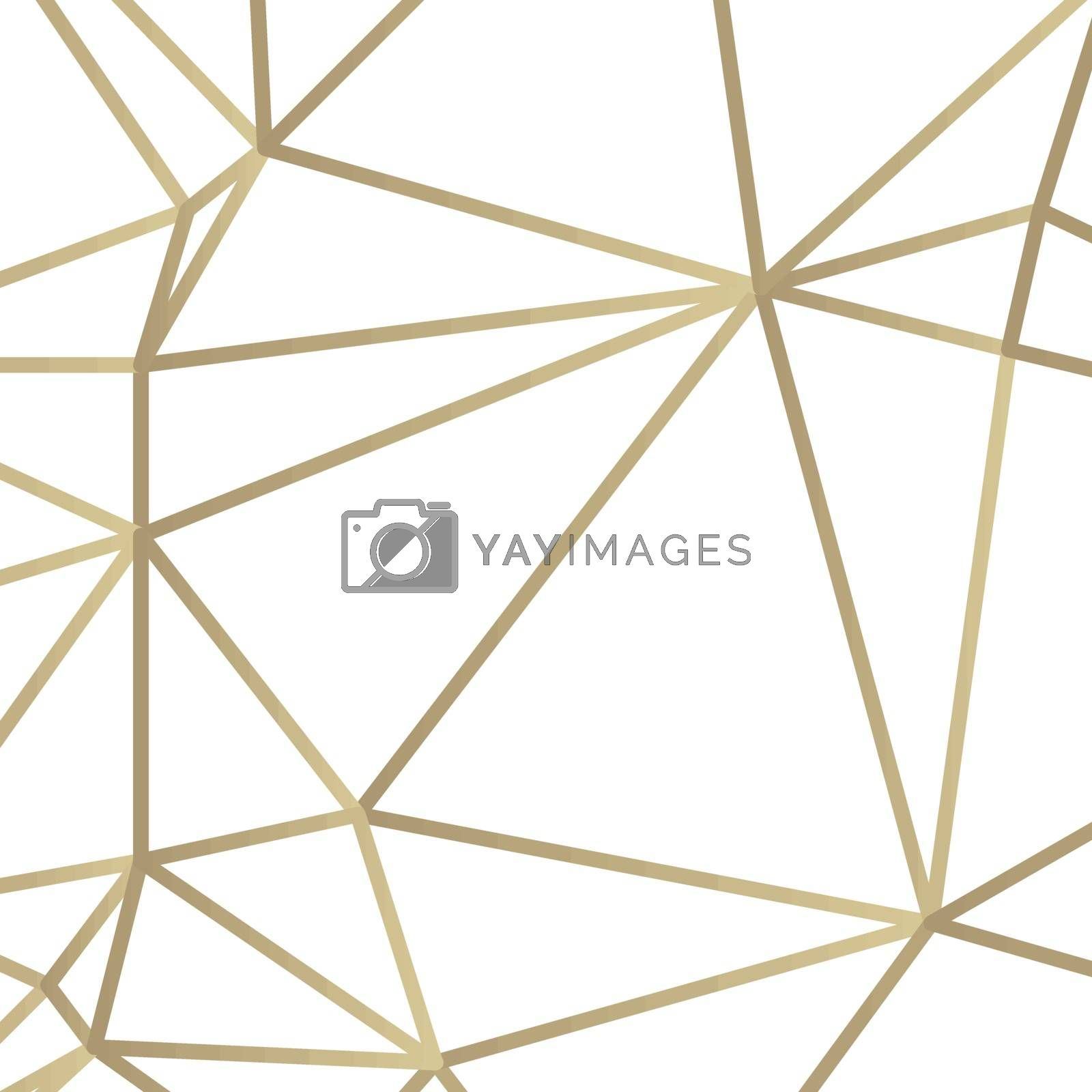 Golden lines vector illustration in art deco style on white background