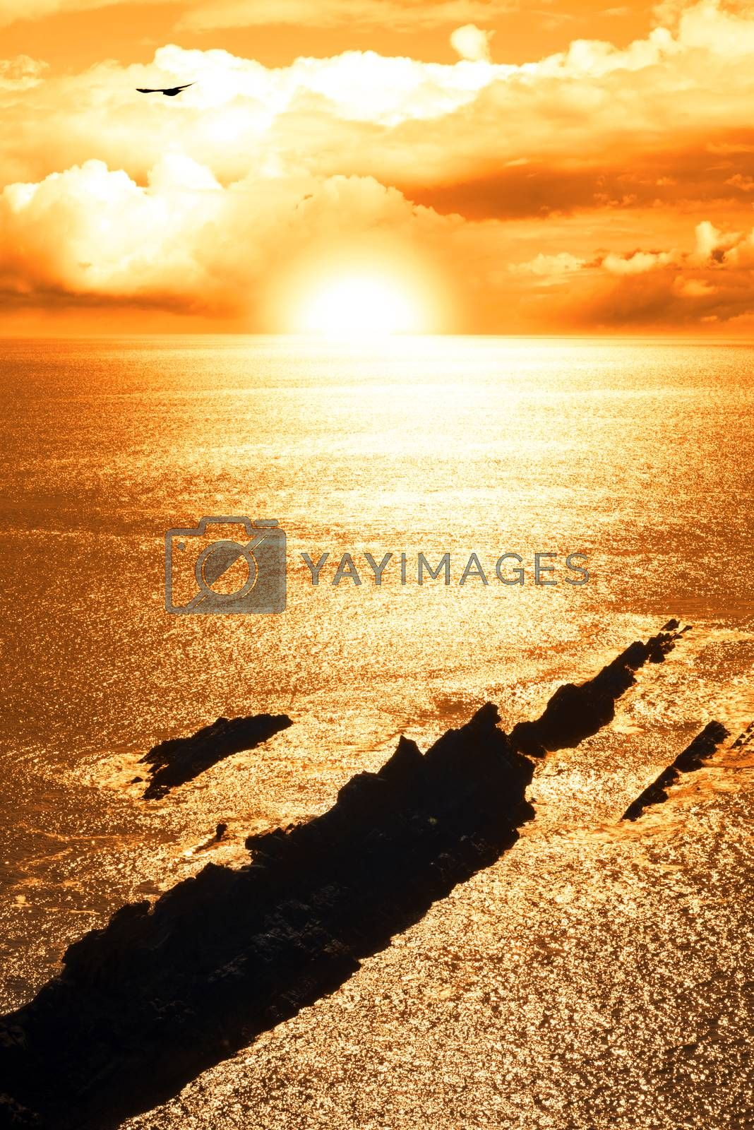 rocky jagged coastline and cliffs sunset in county kerry ireland on the wild atlantic way