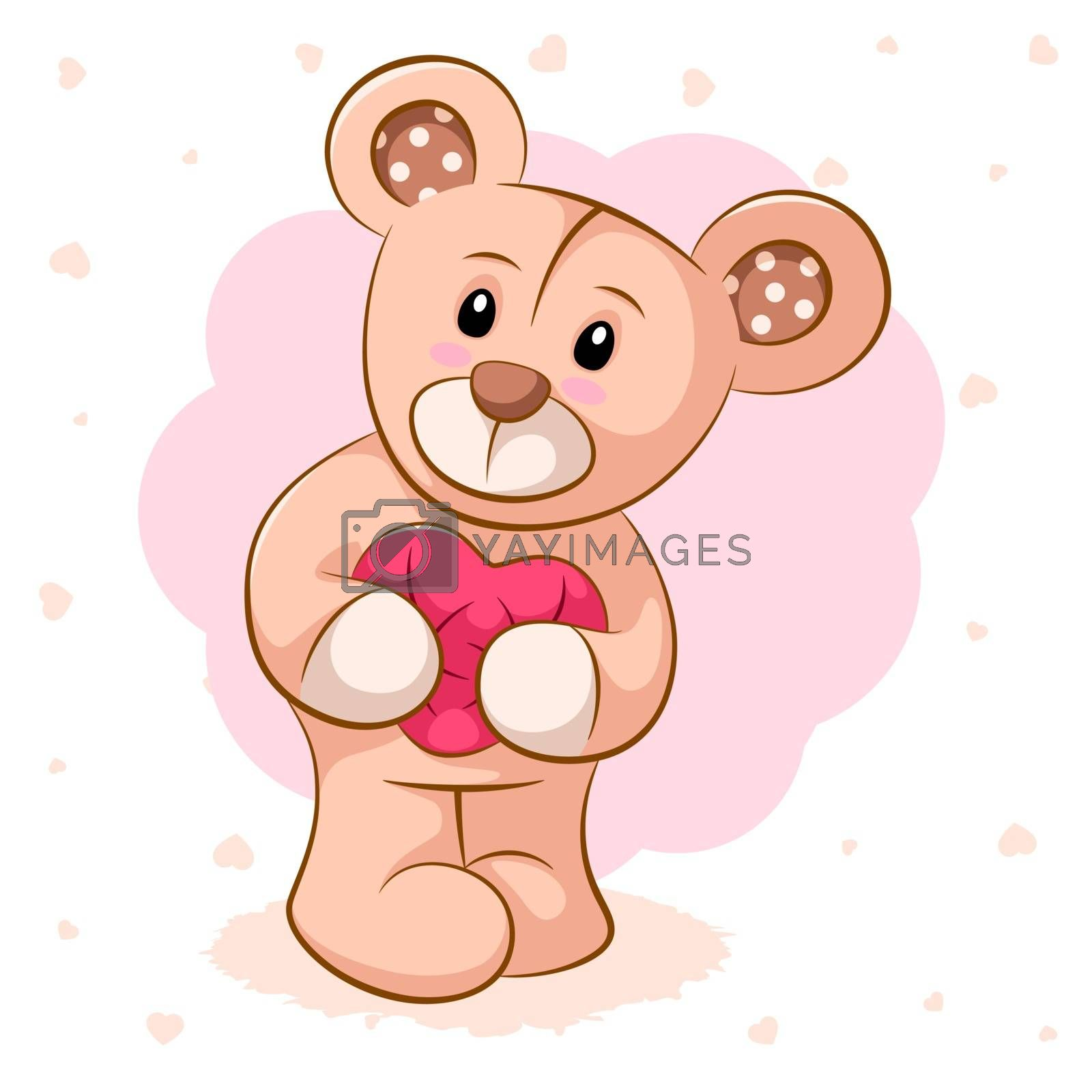 Teddy bear with pink heart. For printing on T-shirts. by rwgusev