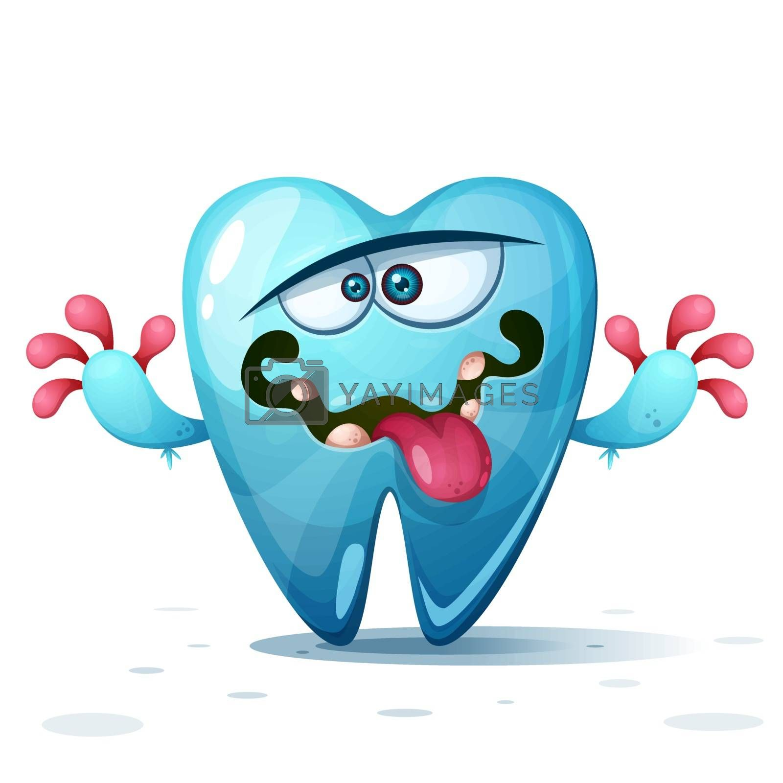 Funny, cute, crazy tooth characters. Cartoon illustration. by rwgusev