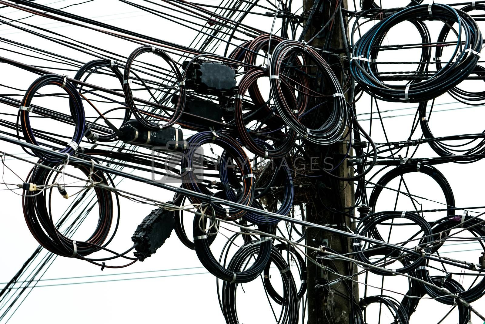 Tangled Electrical Wires On Urban Electric Pole Disorganized And Messy To Organization Management Concept Royalty Free Stock Image Yayimages Royalty Free Stock Photos And Vectors