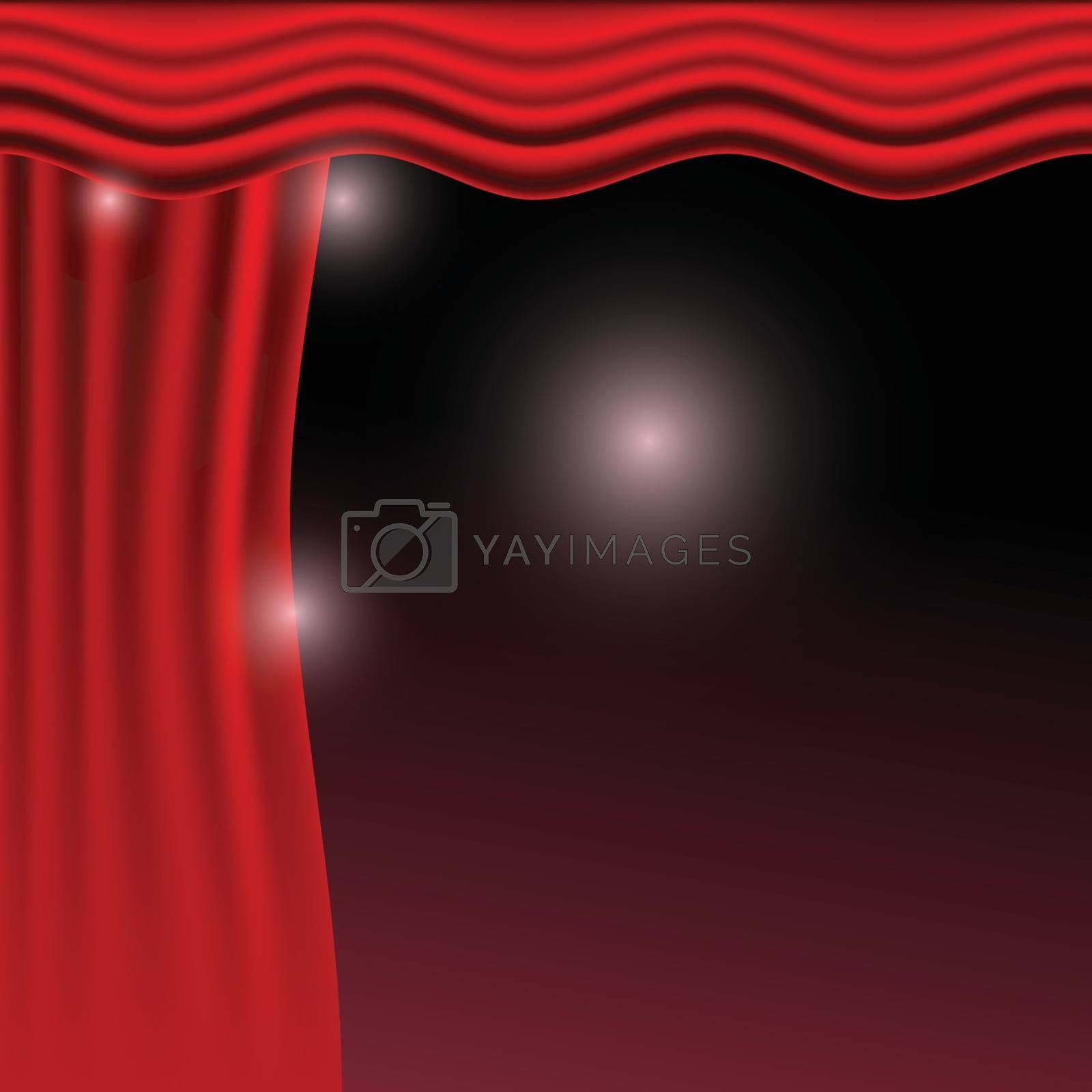 Vector illustration. Red curtains. Scenes on dark background by victosha