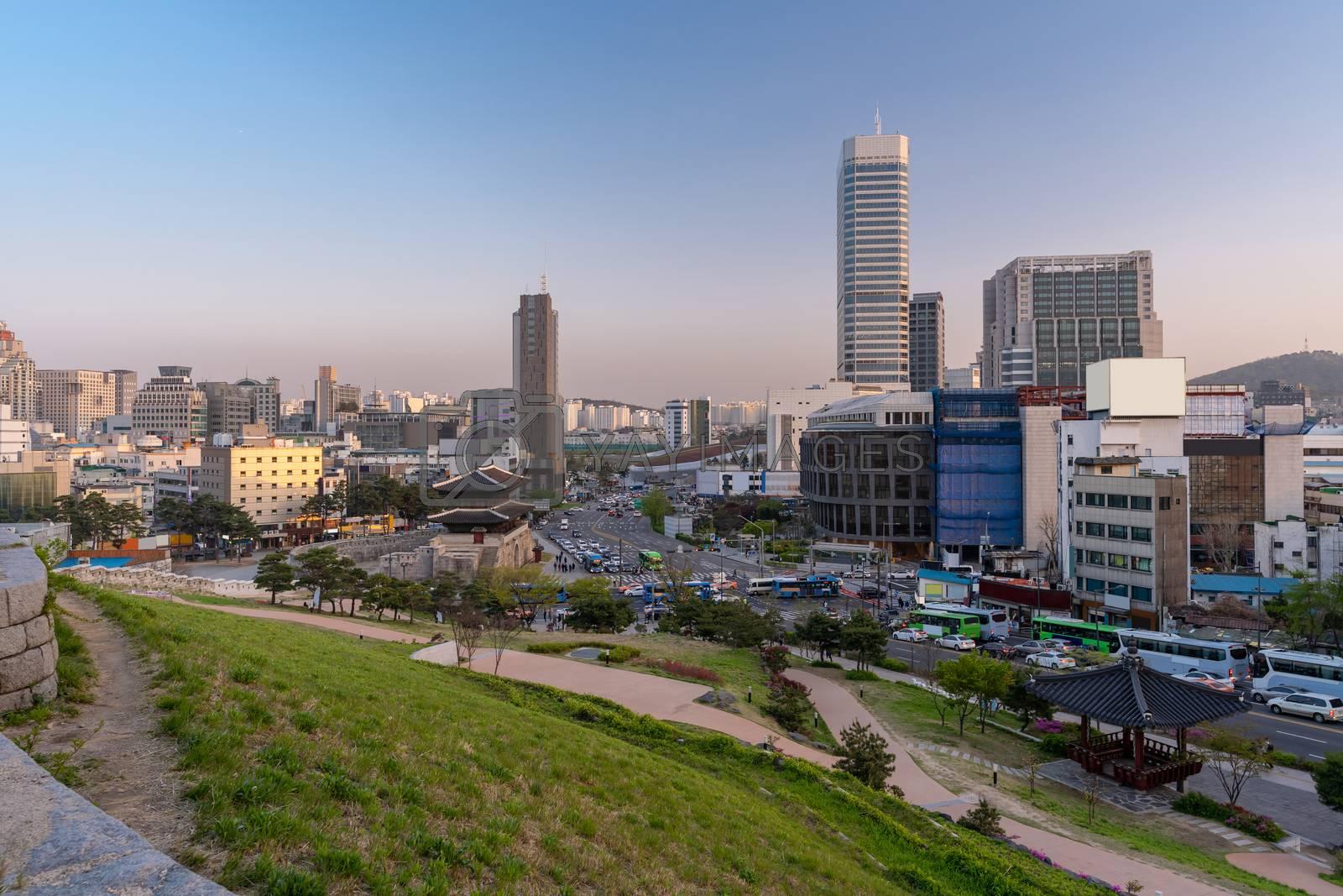 Cityscape at Heunginjimun Dongdaemun gate in Seoul South Korea