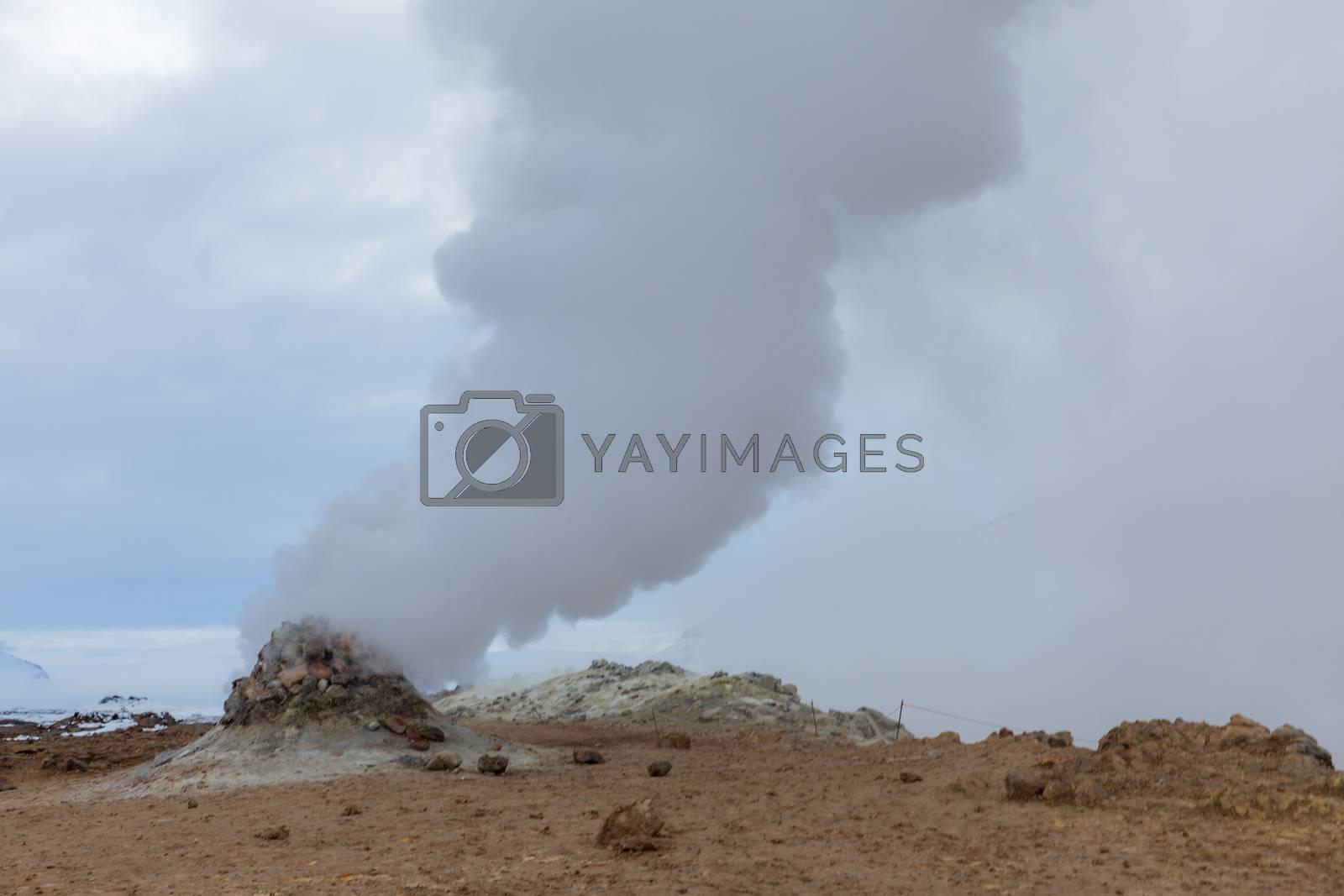 Hverir (Hverarond), the geothermal area, is a popular tourist attraction at  Lake Myvatn, Krafla northeastern region of Iceland, Europe.
