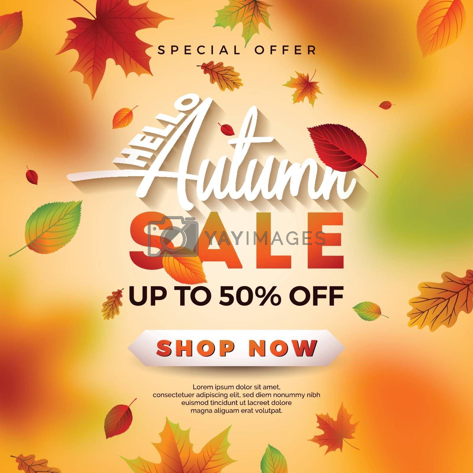 Autumn Sale Design with Falling Leaves and Lettering on Light Background. Autumnal Vector Illustration with Special Offer Typography Elements for Coupon, Voucher, Banner, Flyer, Promotional Poster or Greeting Card