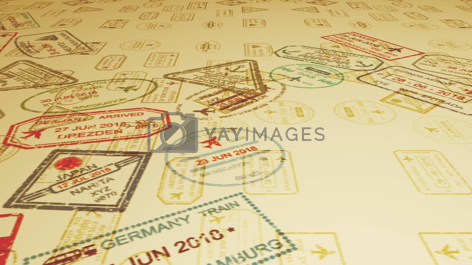 An inspirational 3d illustration of travel stamps with airplanes landing on slanting sandy surface full of visa marks in the camel yellow background. It looks cheerful and optimistic