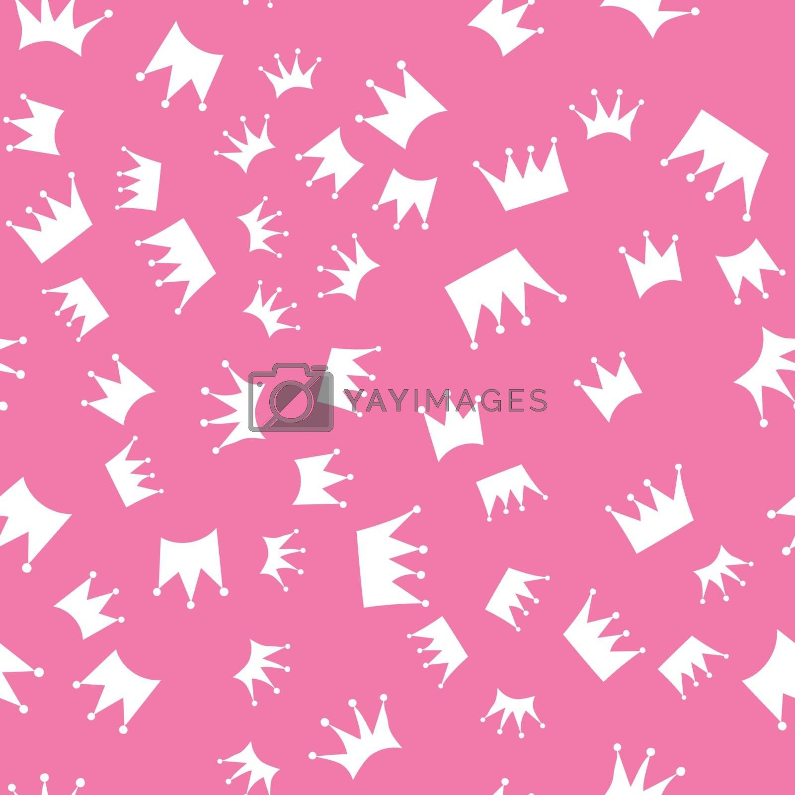 Seamless pattern. white silhouettes of crowns on a pink background by victosha