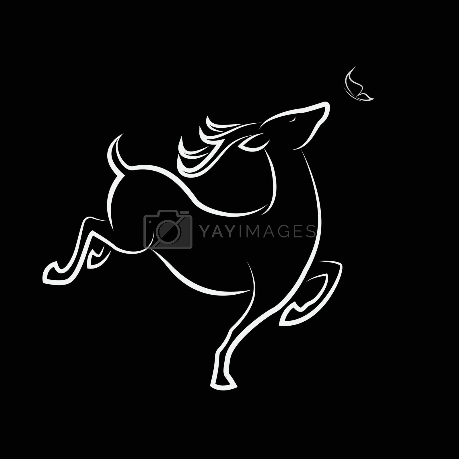 Vector of Deer and butterfly on white background. Wild Animals. Easy editable layered vector illustration.