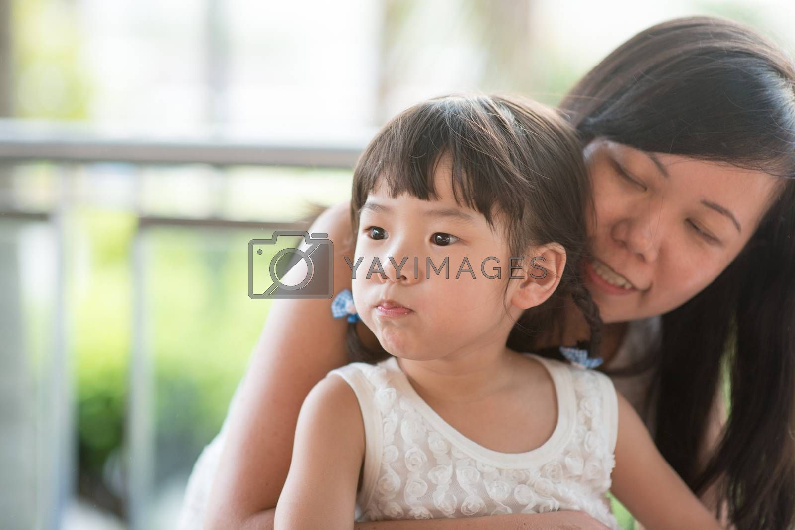 Asian family outdoor lifestyle with natural light.