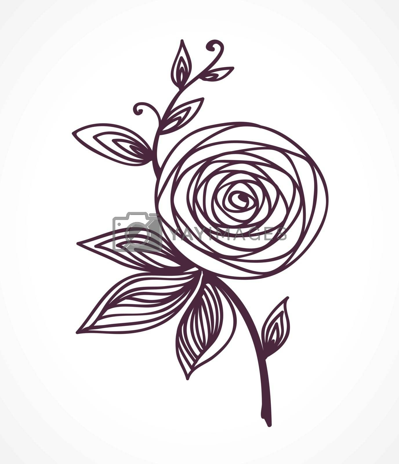 Rose Stylized flower hand drawing. Outline icon symbol. Present for wedding, birthday invitation card