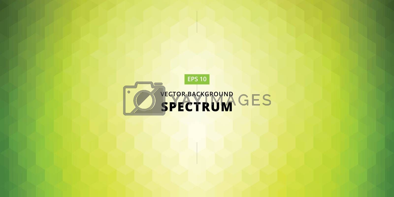 Spectrum geometric background made of triangles. green color background vector