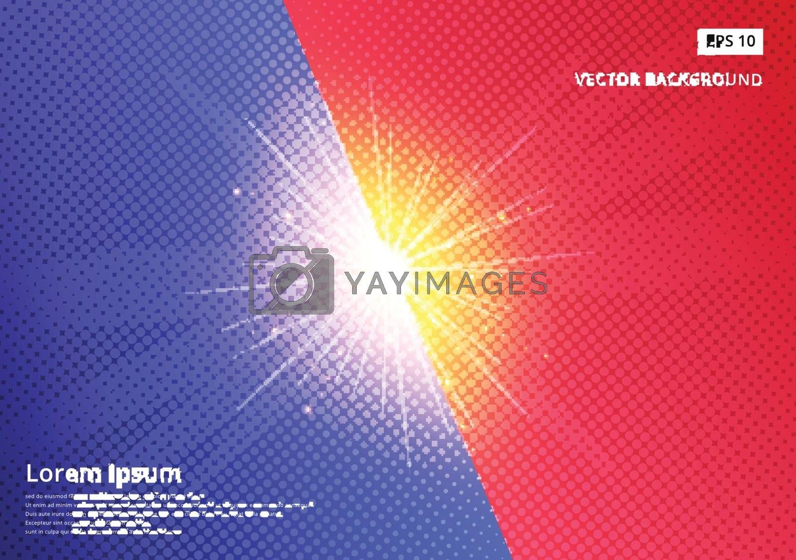 Blue and red halftone vector background image With the sparkling out