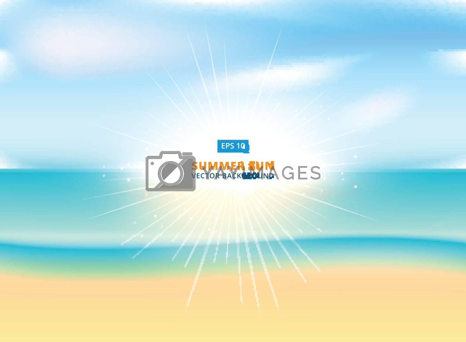 Sunny sparkling background with sandy beach and ocean, vector illustration.