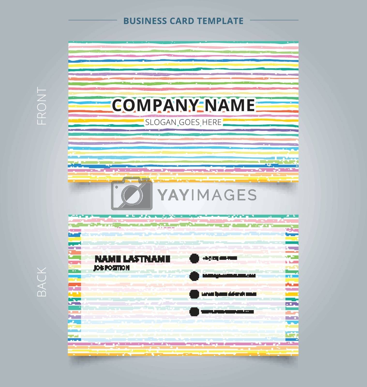 Template name card hand draw horizontal pattern pastel color background. Vector illustration