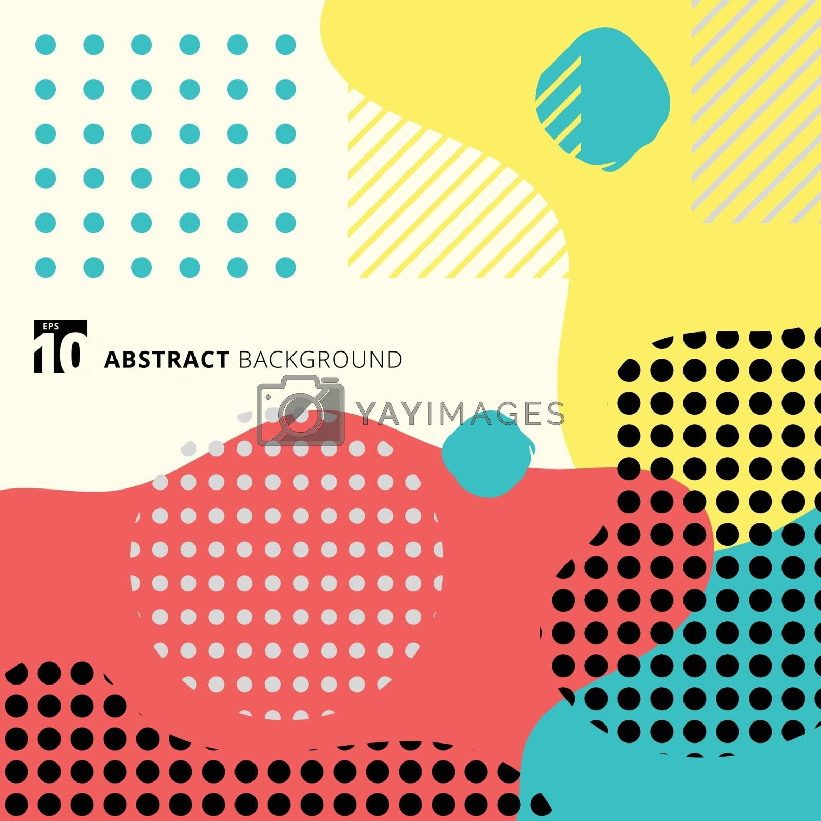 Abstract geometric form with line and dots pattern trendy memphis style on colorful background. Vector illustration
