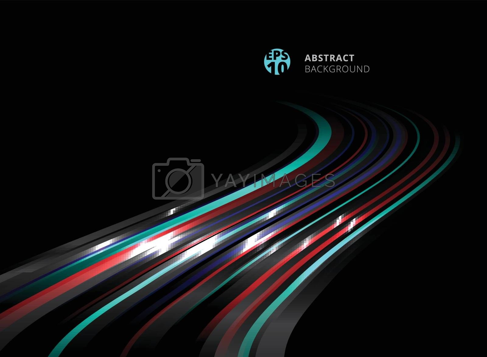 Abstract perspective technology striped blue, red color lines with lighting effect on black background. Vector illustration