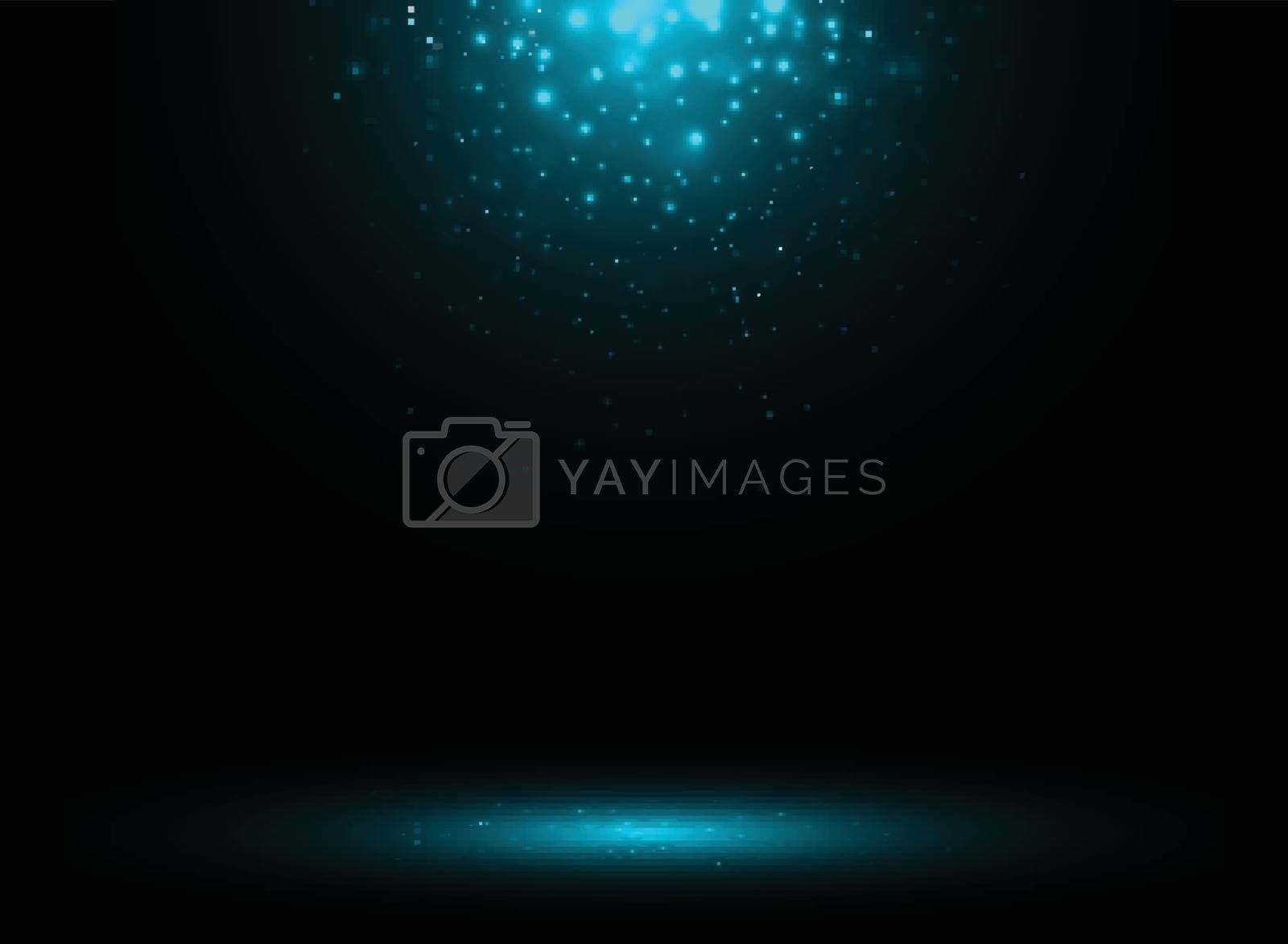 Dark stage background with blue rays of spotlight and falling sparkling. Shimmering light dust shining. Vector illustration