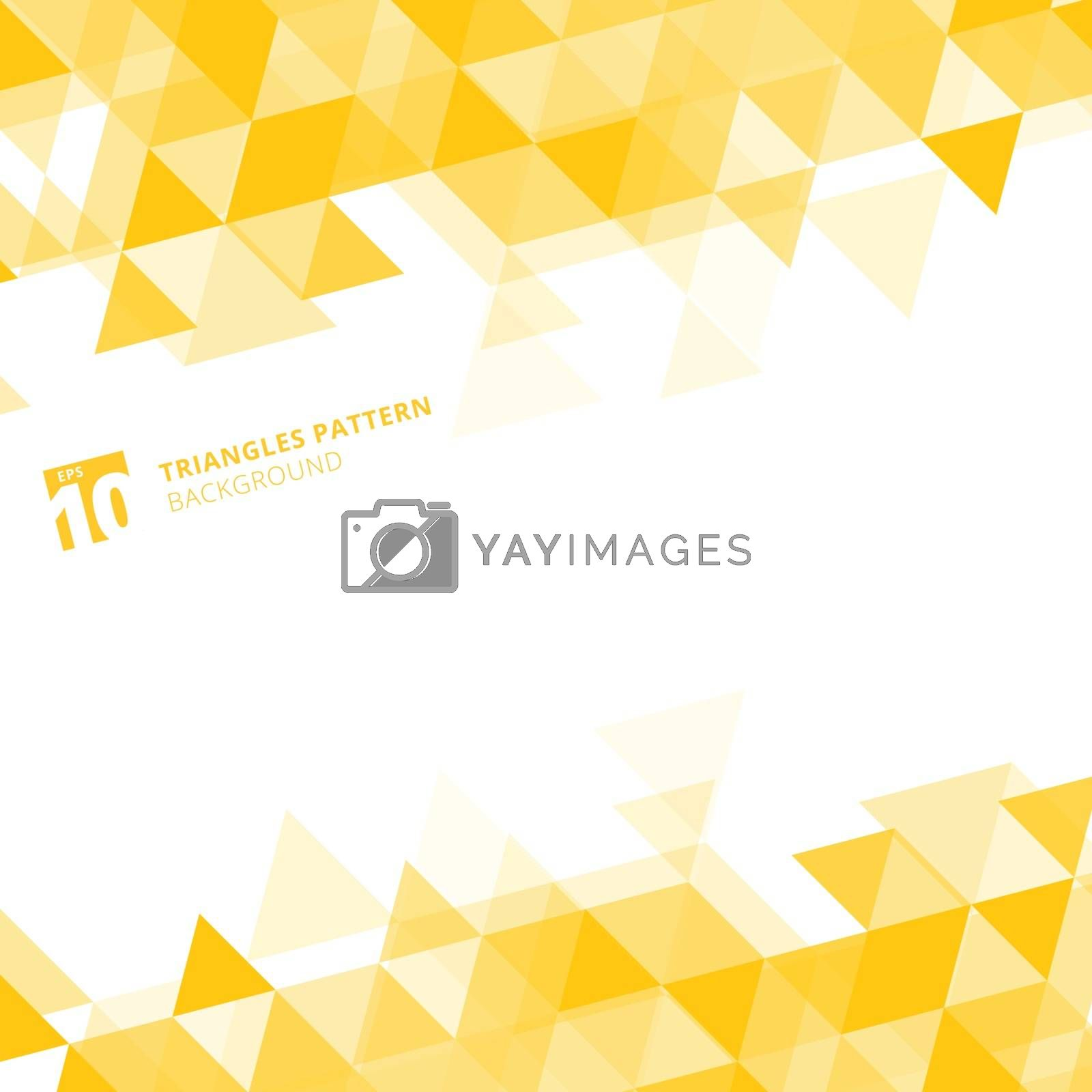 Abstract yellow triangles geometric on white background. Vector illustration