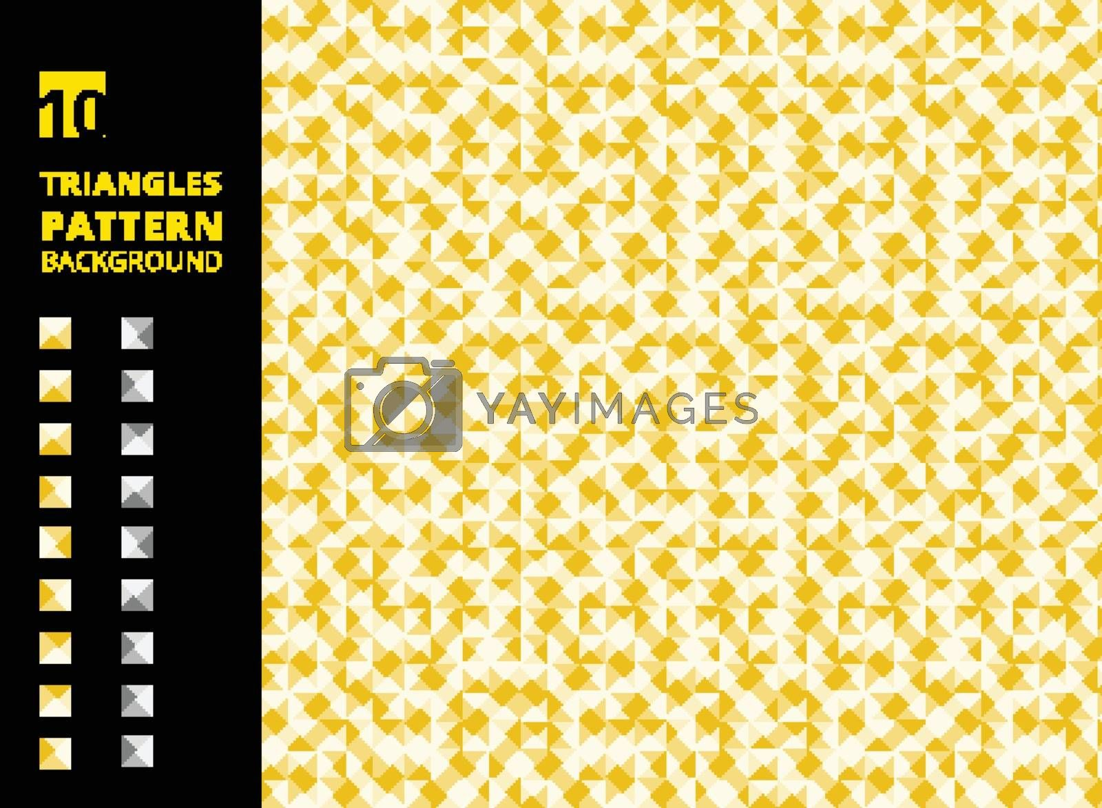 Abstract retro of geometric shapes background. Yellow triangles mosaic backdrop. Vector illustration