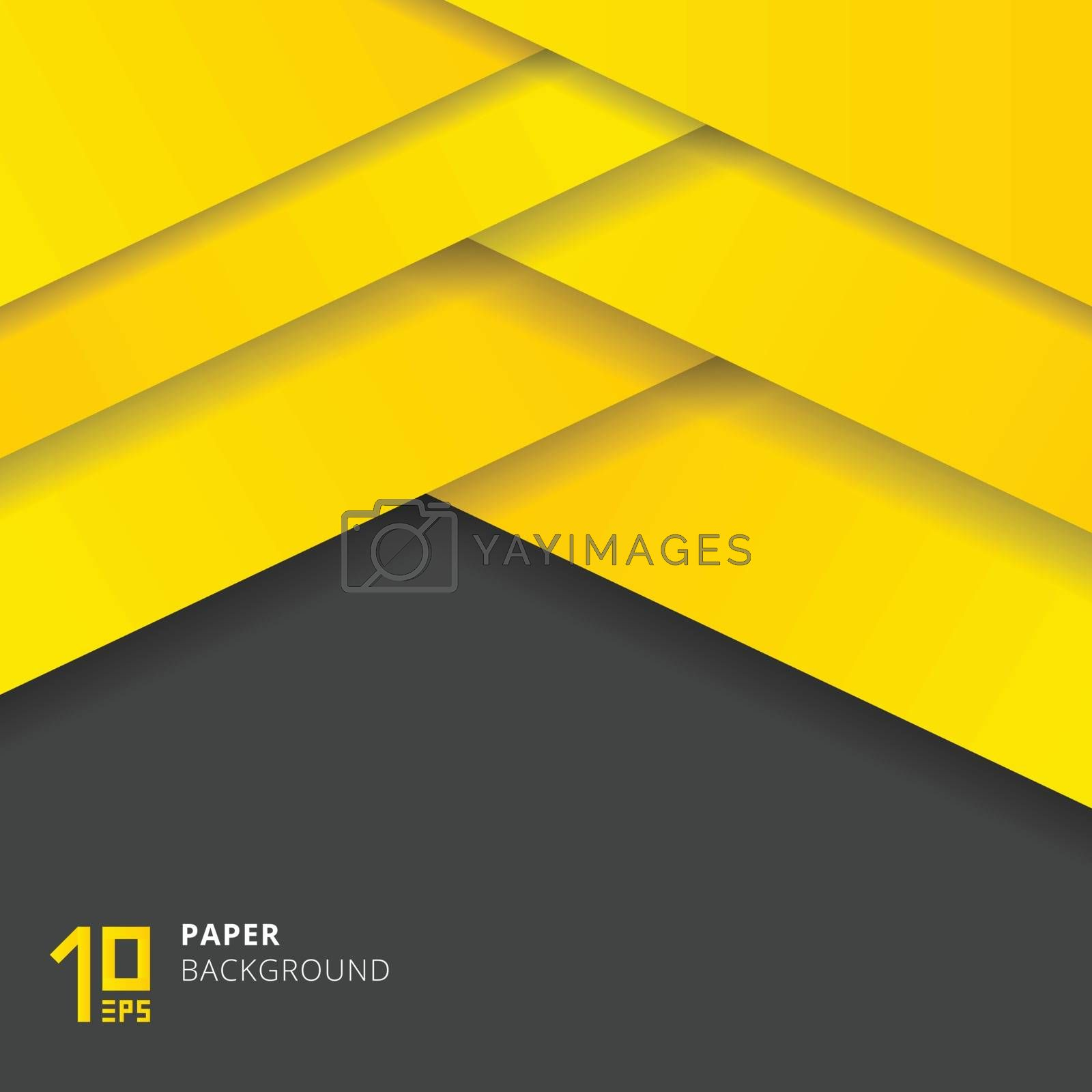 Abstract Yellow paper cut style on gray background space for text. Vector illustration