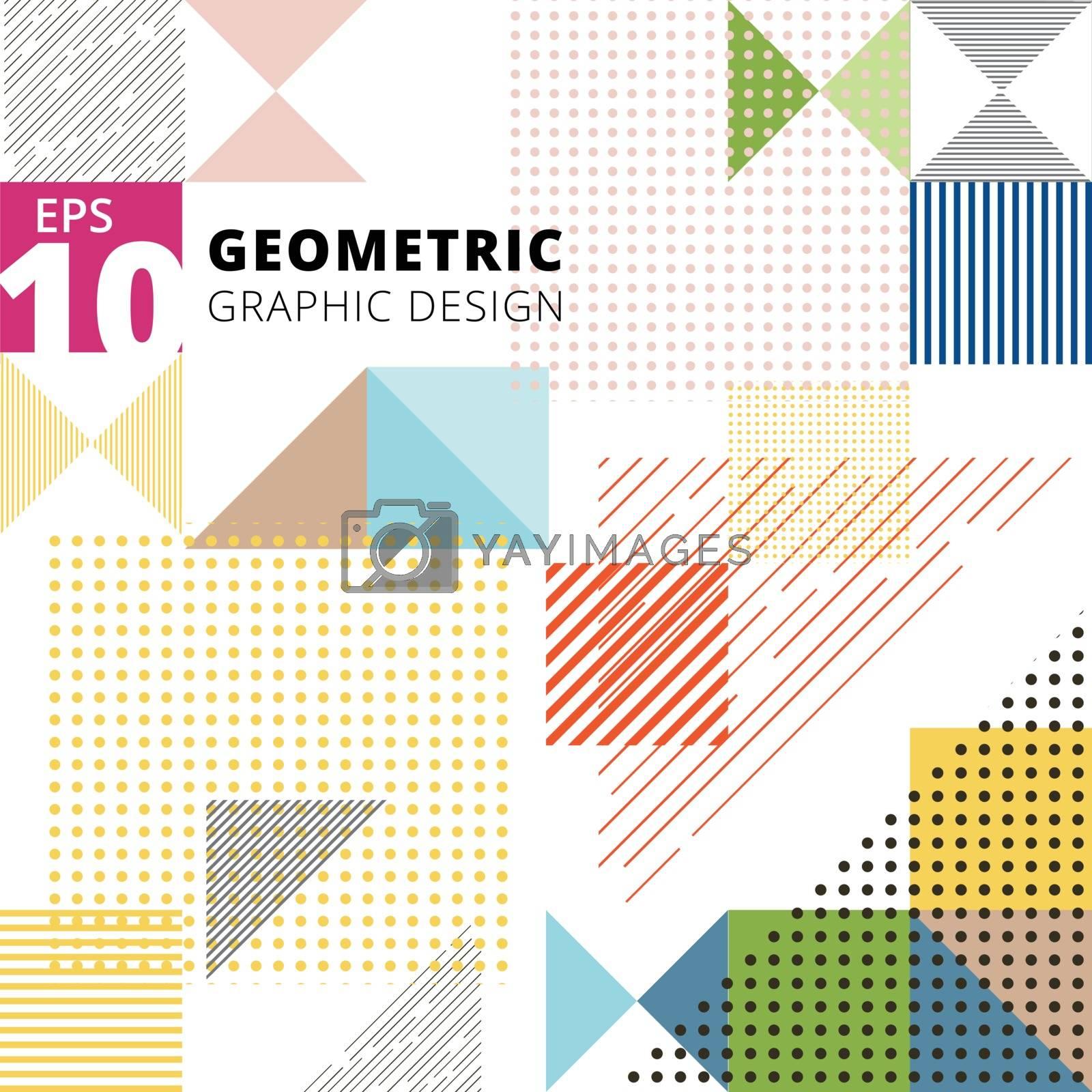 Abstract multicolor geometric pattern. Trendy geometric elements modern design. Vector illustration