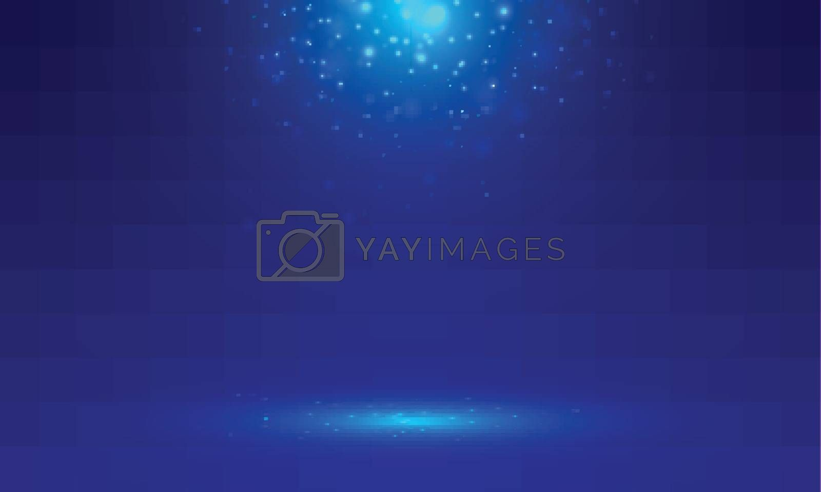 Blue stage background with light rays of spotlight and falling sparkling. Shimmering light dust shining. Studio room. Vector illustration