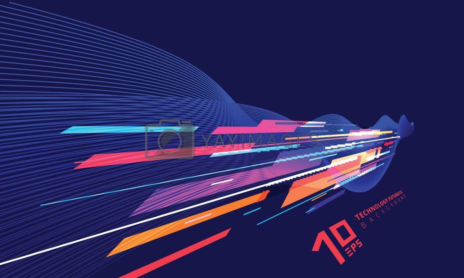 Abstract perspective technology geometric and twist lines colorful on dark blue background. Vector illustration