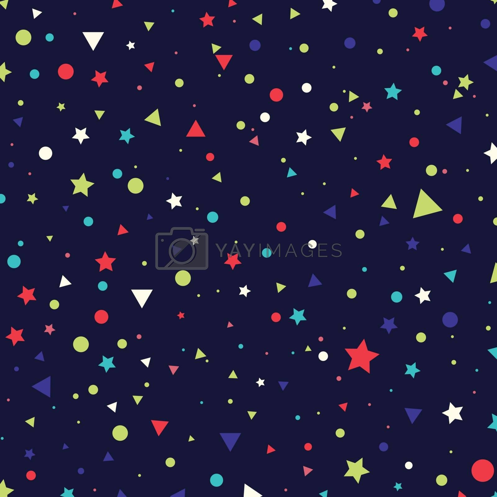 Abstract pattern colorful small circles, stars and triangles on blue background. Infinity geometric. Vector illustration