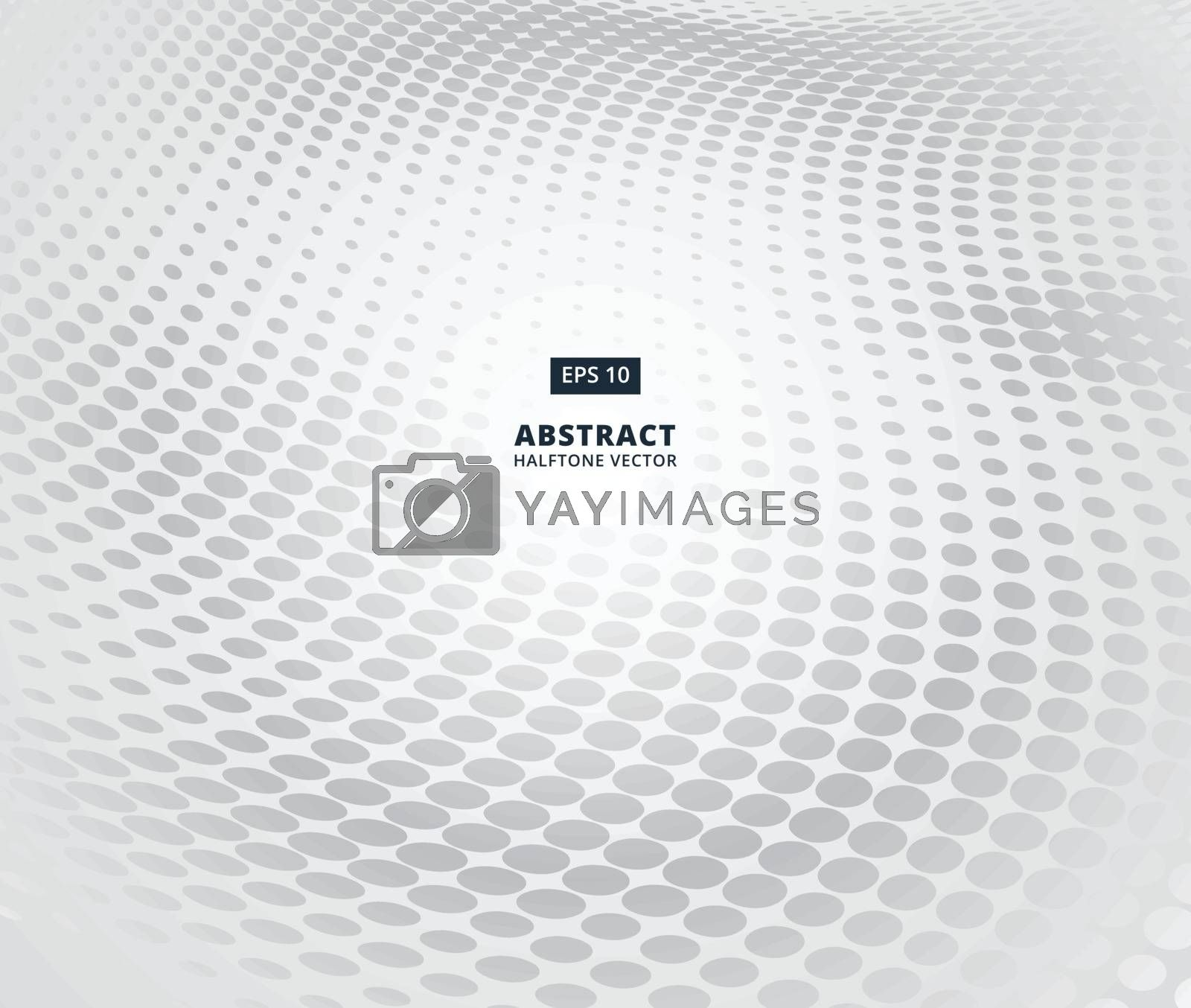 Grey ellipse halftone pattern in perspective on white background for abstract background concept vector
