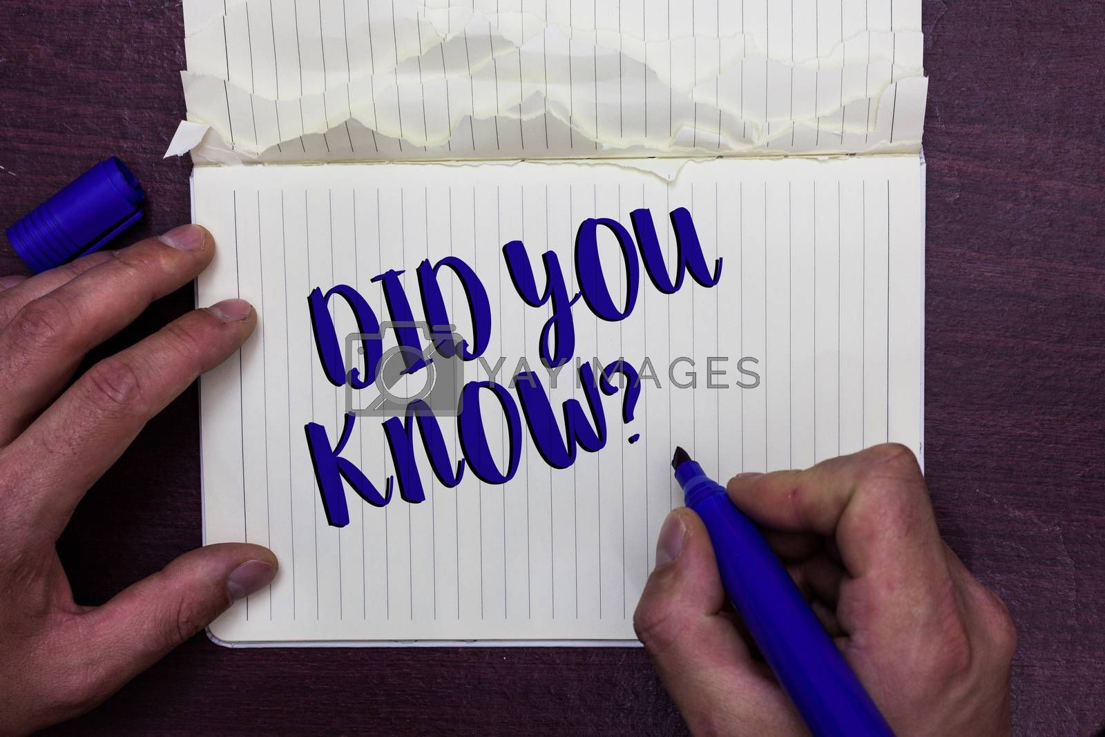 Writing note showing Did You Know question. Business photo showcasing Fun Facts and Figures Information General Knowledge Man holding marker notebook page crumpled paper several tries mistakes