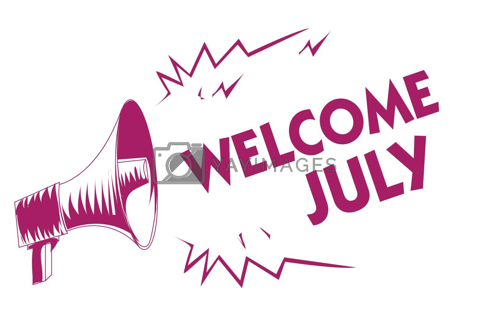 Conceptual hand writing showing Welcome July. Business photo showcasing Calendar Seventh Month 31days Third Quarter New Season Purple megaphone important message screaming speaking loud