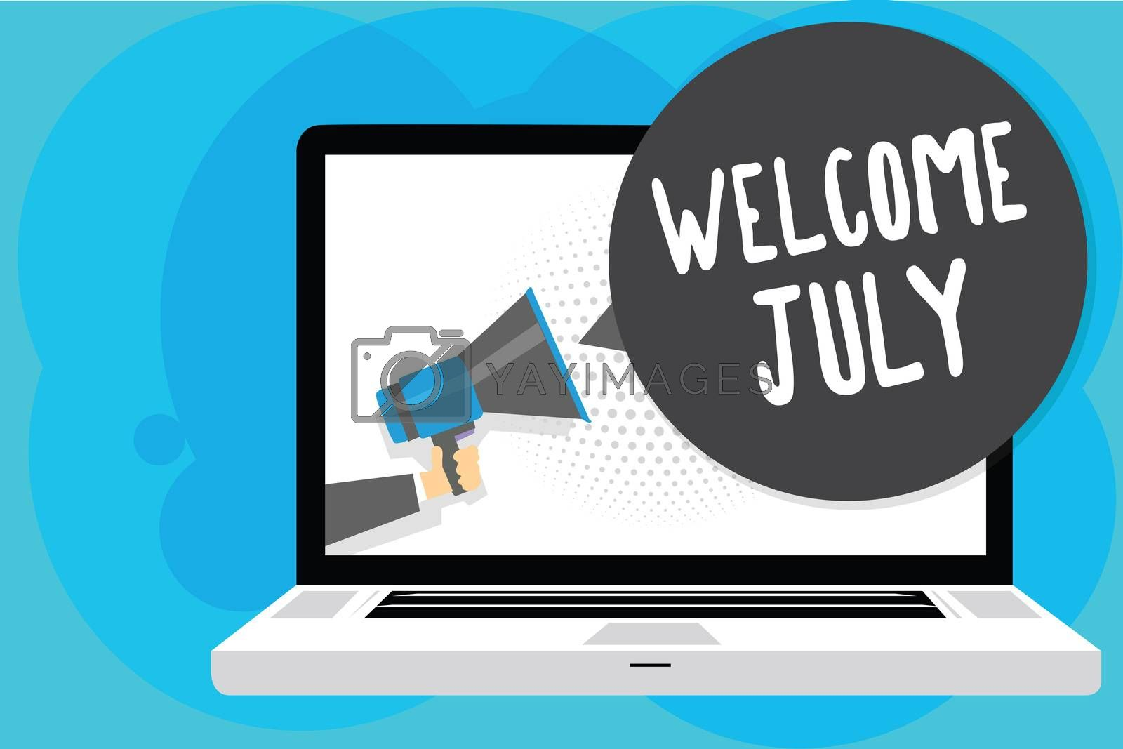 Text sign showing Welcome July. Conceptual photo Calendar Seventh Month 31days Third Quarter New Season Man holding Megaphone loudspeaker computer screen talking speech bubble