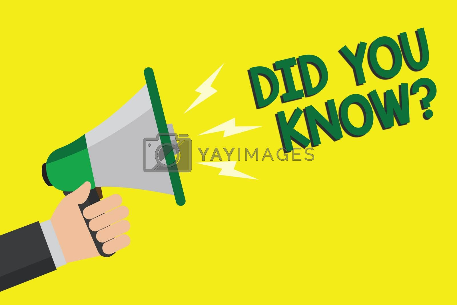 Text sign showing Did You Know question. Conceptual photo Fun Facts and Figures Information General Knowledge Man holding megaphone loudspeaker yellow background message speaking loud