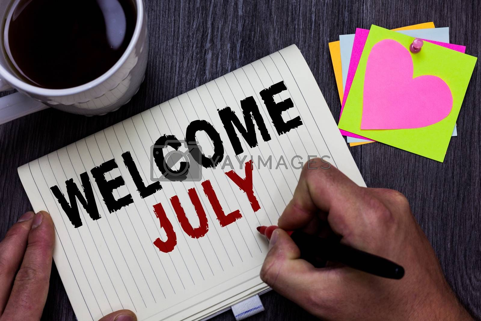 Conceptual hand writing showing Welcome July. Business photo text Calendar Seventh Month 31days Third Quarter New Season Man holding marker giving ideas wooden table cup coffee hearts
