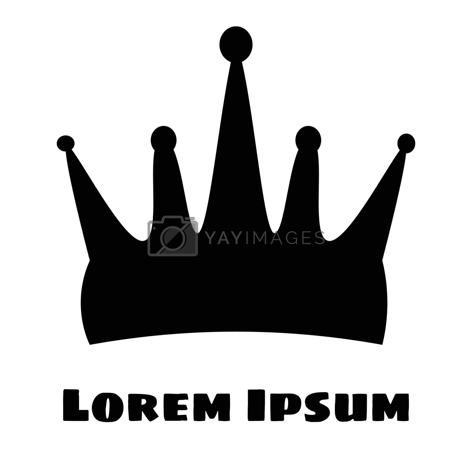 Black Silhouette of a crown on a white background. With place for text by victosha