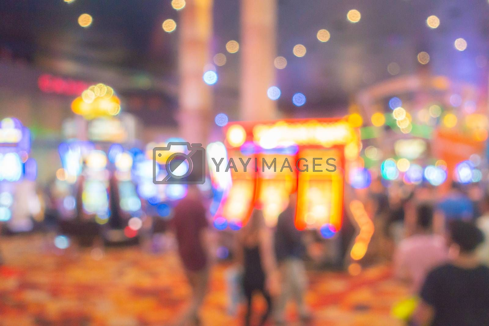 Abstract Blurred background of Casino in Las Vegas city in Nevada USA