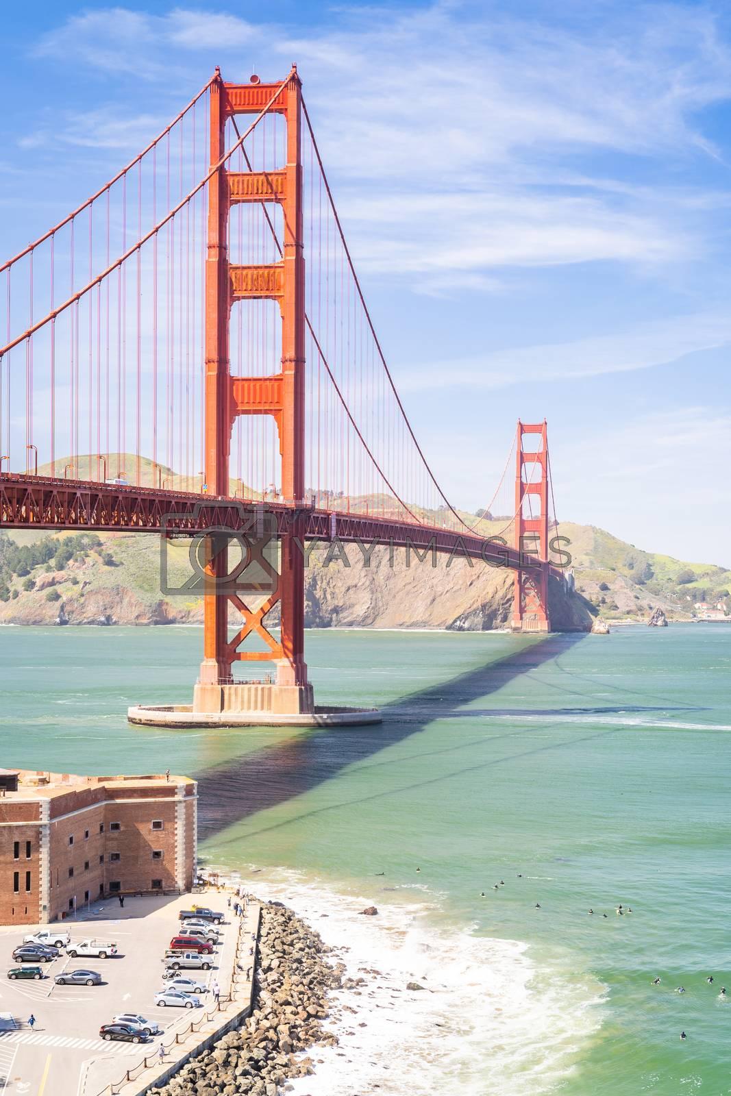 Golden Gate bridge in San Francisco California USA West Coast of Pacific Ocean