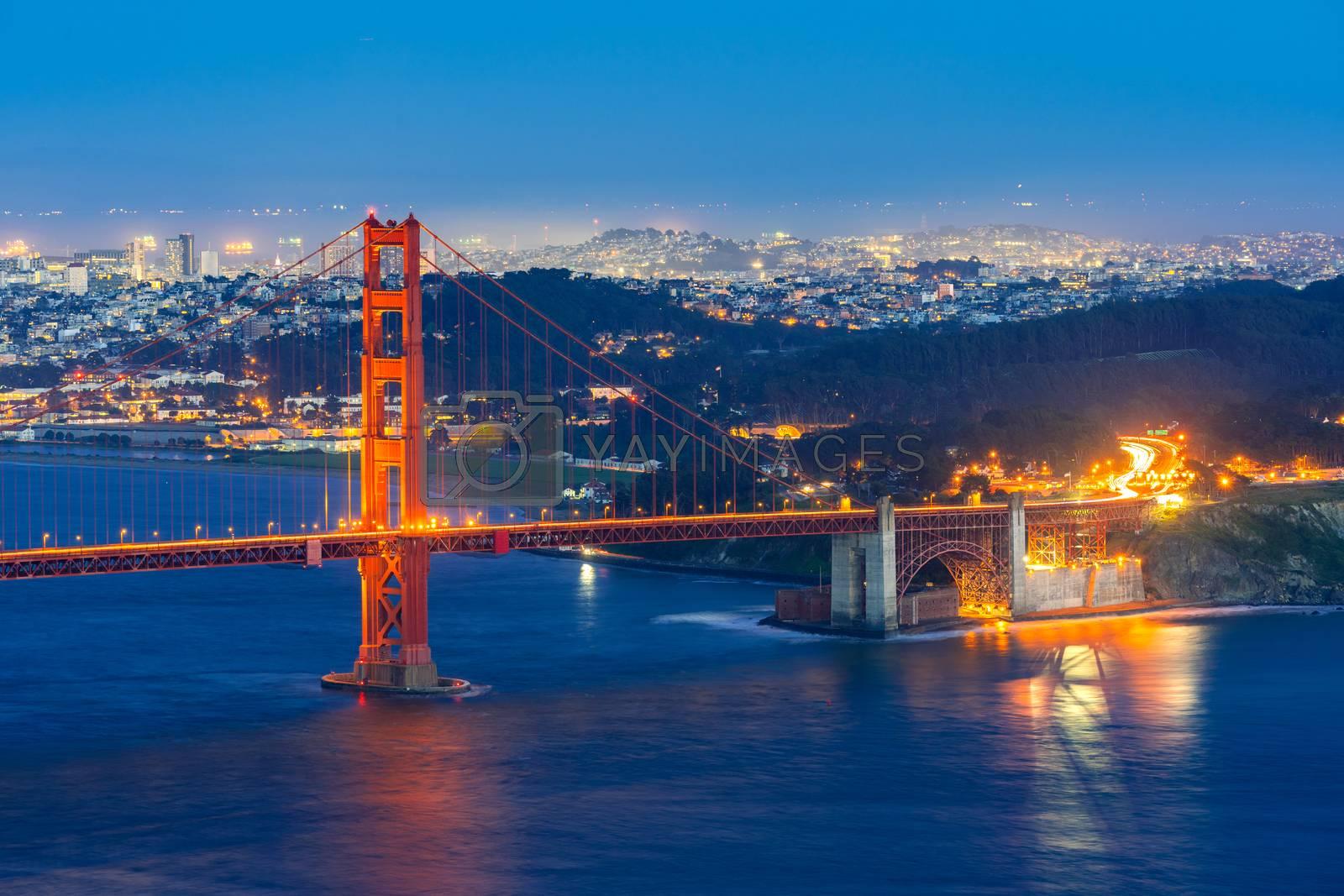 Golden Gate bridge in San Francisco California USA West Coast of Pacific Ocean Sunset Twilight