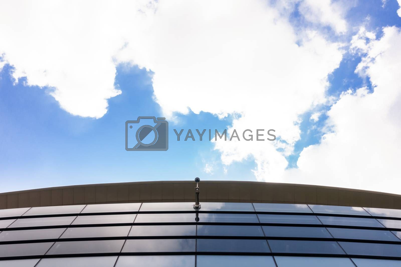 Modern and contemporary office building from glass and steel with CCTV