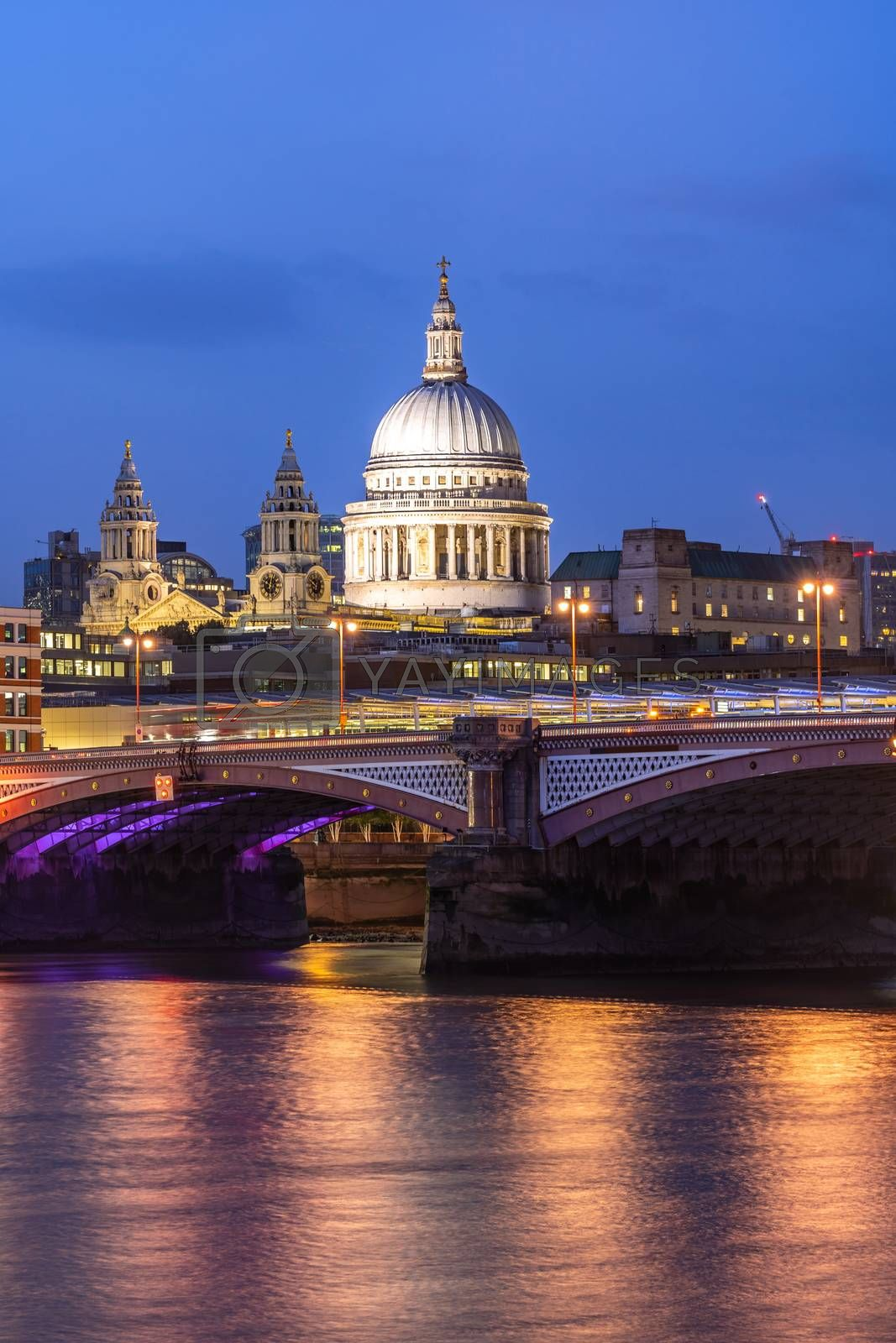 St paul cathedral with river thames sunset twilight in London UK.