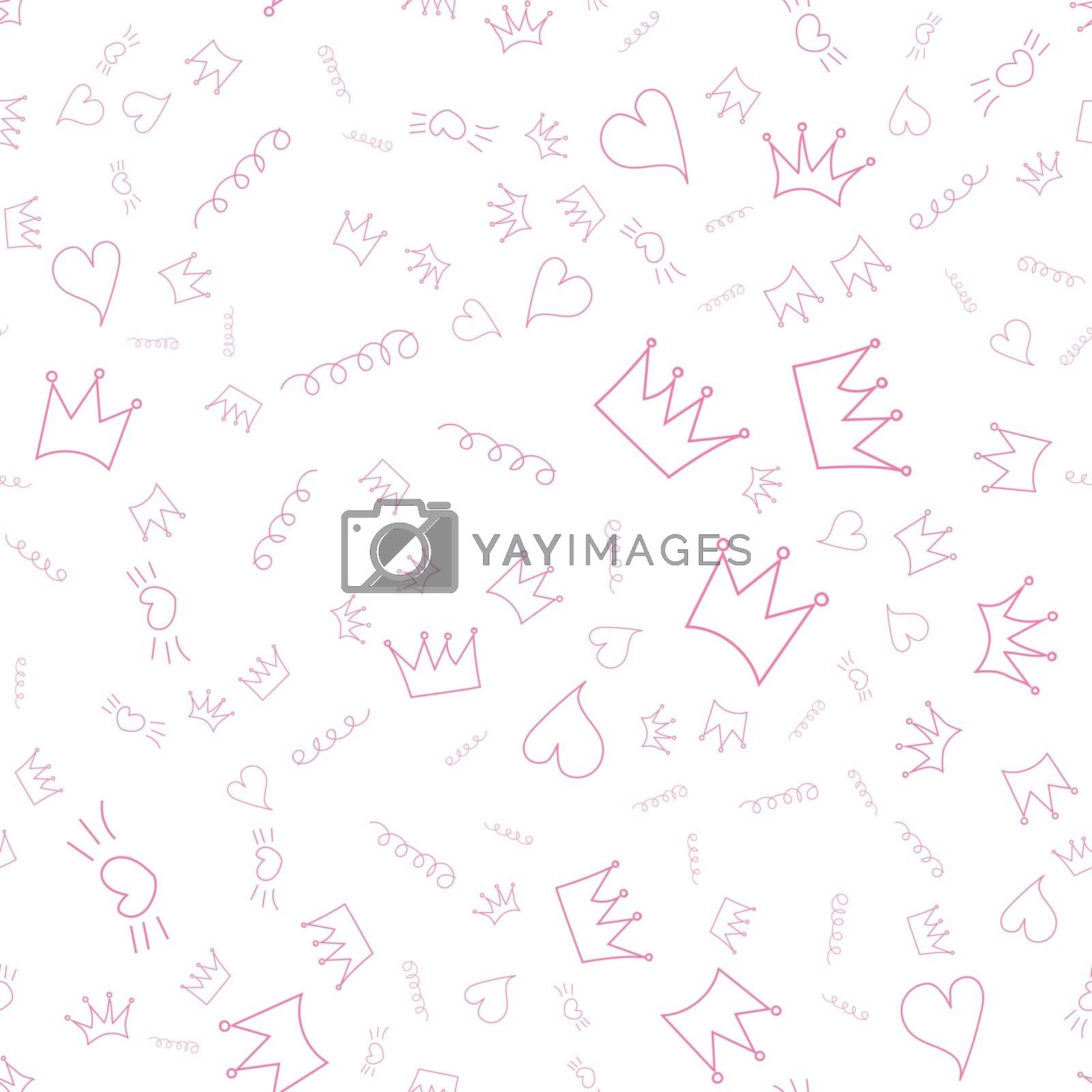 Vector illustration. Seamless pattern. Crown and pink heart on a white background