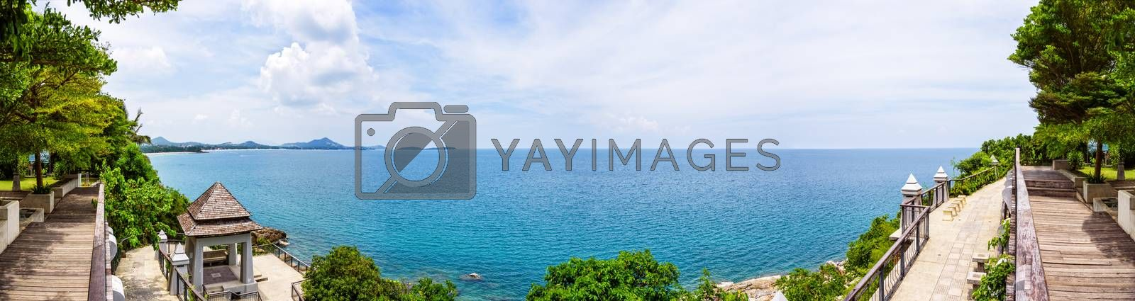 Lad Koh View Point, High angle view panorama beautiful nature landscape of rocks on the coastline with blue sea under the summer sky at Koh Samui island, Surat Thani, Thailand