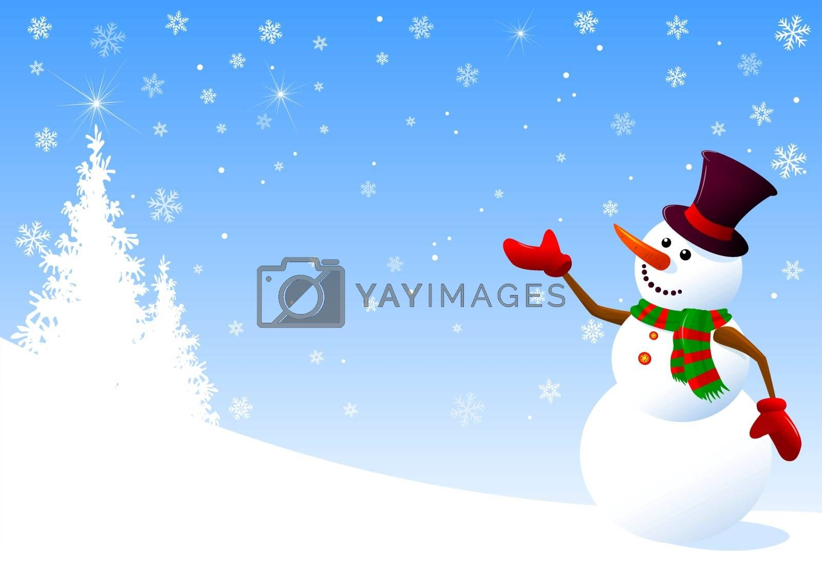 Snowman greeting by liolle