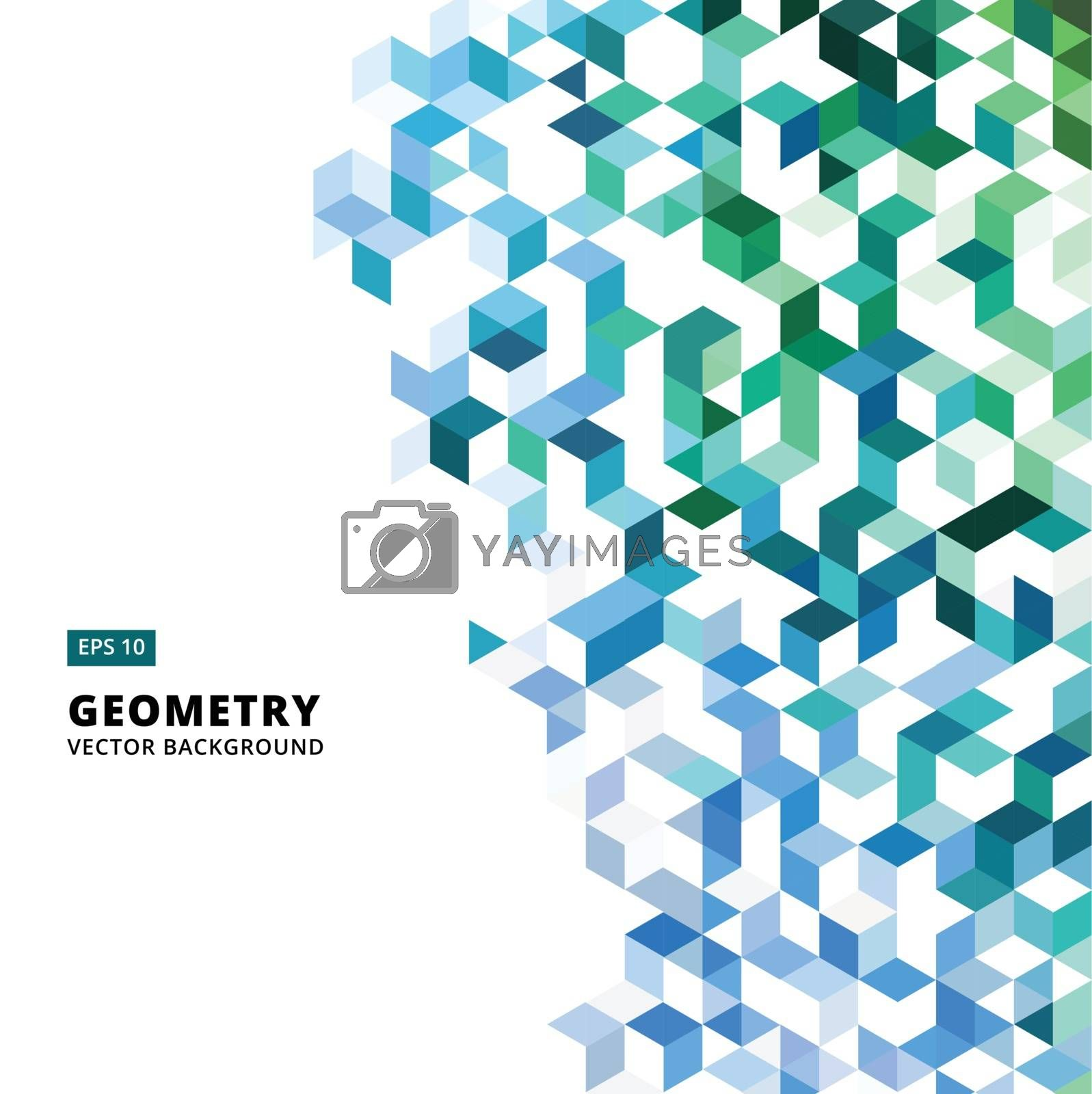 abstract geometric blue and green bricks, triangle, cube, 3d Vector Illustration