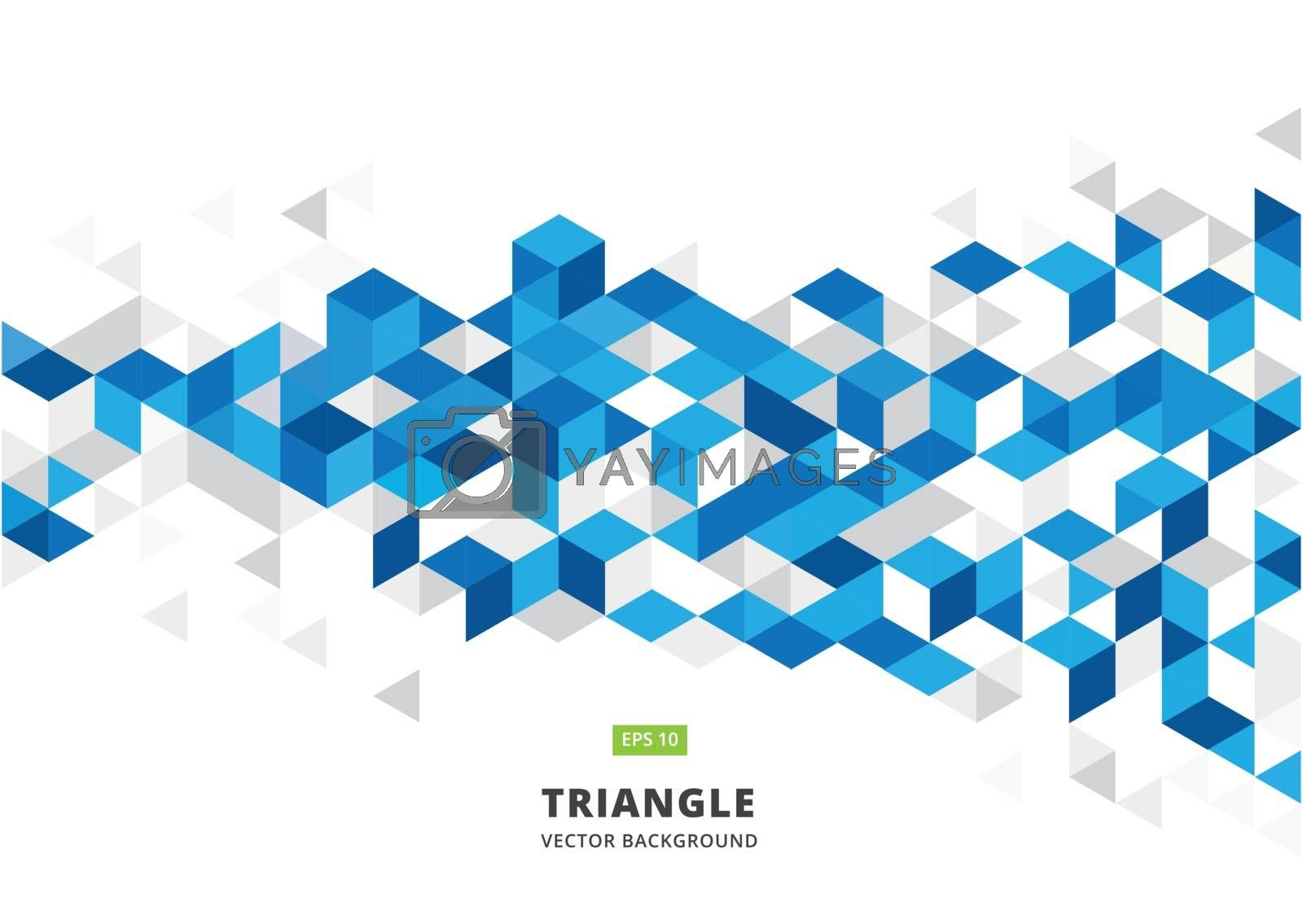abstract blue geometric background with polygonal triangles, cube pattern.Template design with color triangle for brochure, leaflet, flyer design. Vector Illuatration