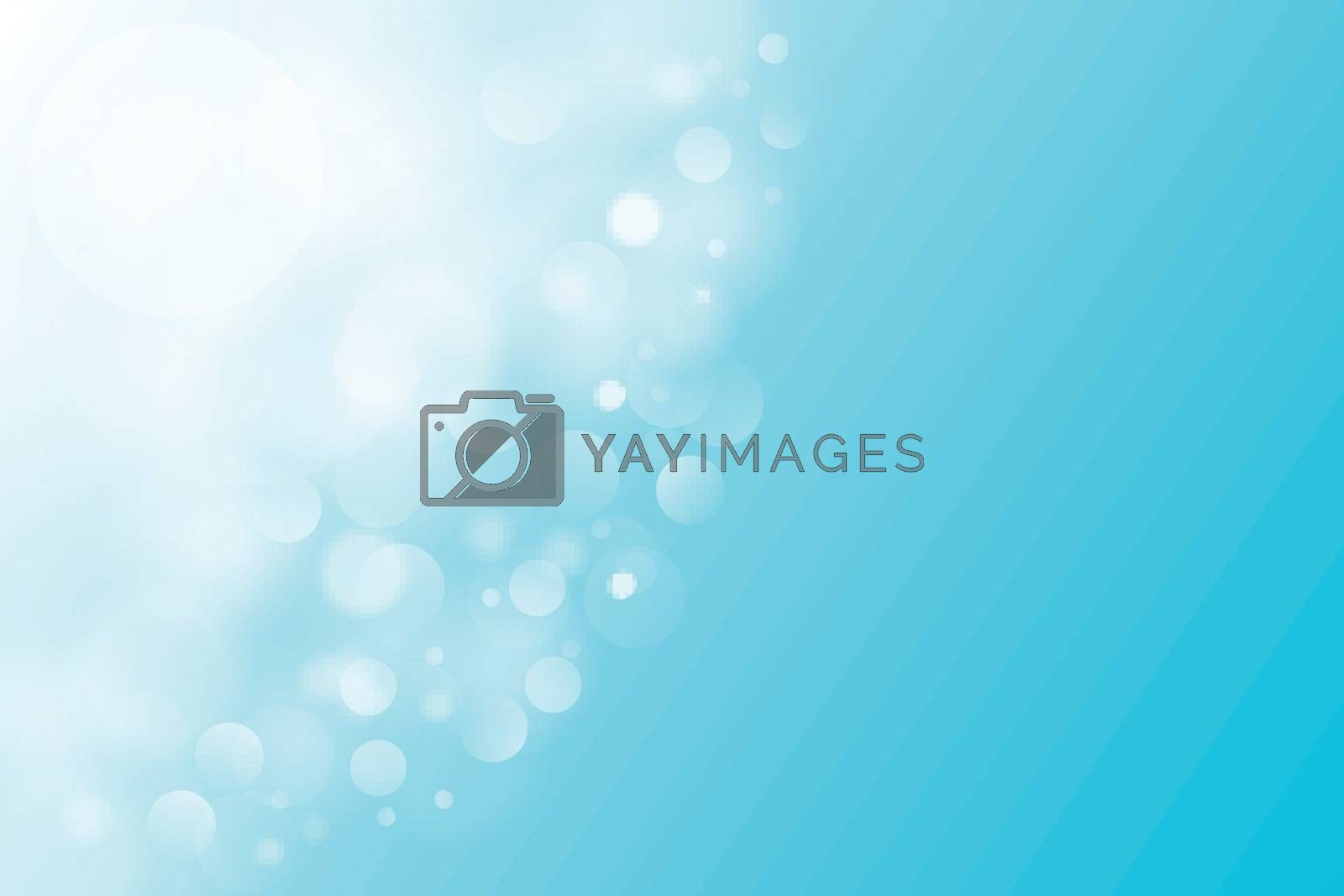 Luxury bright abstract summer sky background blue magical lights, bokeh, Vector Illustration, copy space