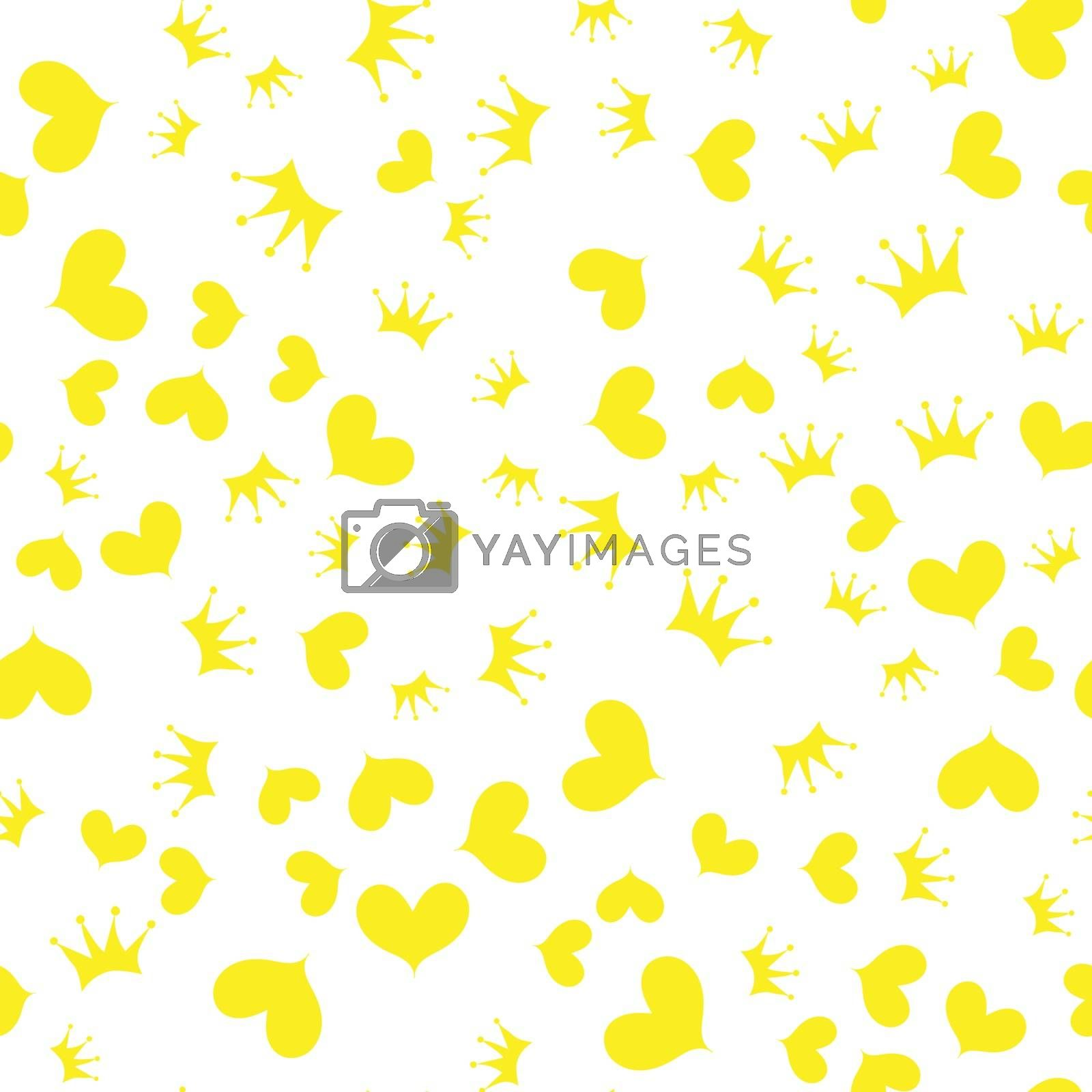 Vector illustration. Seamless pattern. Crown and yellow heart on a white background